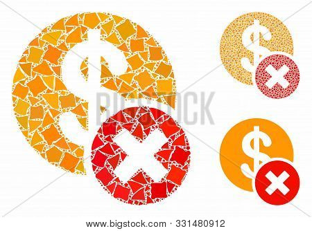 Wrong Dollar Composition Of Abrupt Parts In Different Sizes And Shades, Based On Wrong Dollar Icon.