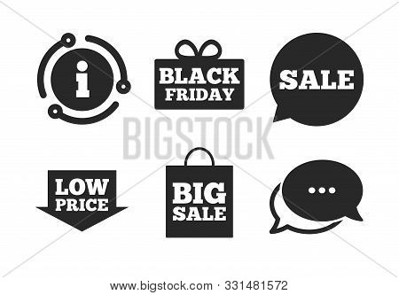 Black Friday Gift Box Symbol. Chat, Info Sign. Sale Speech Bubble Icon. Big Sale Shopping Bag. Low P