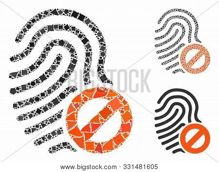 Banned Fingerprint Composition Of Tuberous Pieces In Different Sizes And Shades, Based On Banned Fin