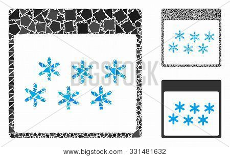 Snowflakes Calendar Page Composition Of Unequal Items In Various Sizes And Color Hues, Based On Snow