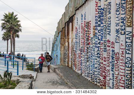 Tijuana, Baja California, Mexico - October 22, 2018:  People Enjoy A Day At The Beach On The Mexico