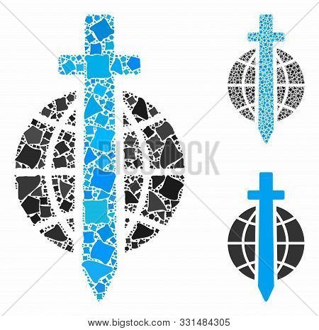 Sword Globe Mosaic Of Unequal Pieces In Various Sizes And Color Hues, Based On Sword Globe Icon. Vec