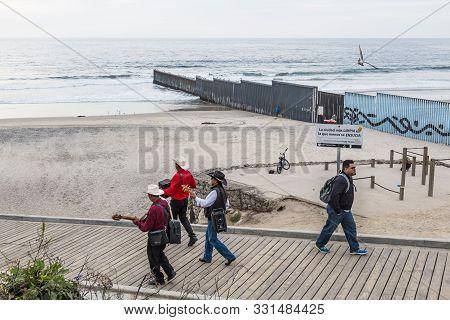 Tijuana, Baja California, Mexico - October 22, 2018:  Entertainers Stroll The Boardwalk At Playas De
