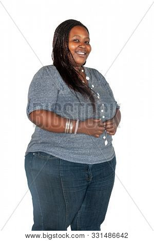 Chubby African woman , isolated on white background