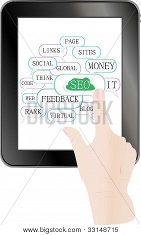 tablet pc with cloud and tags on social engine optimization