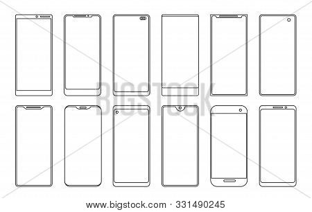 Line Smartphone Touchscreen Frames. Vector Outlines Android Phone Vector Silhouettes, Linear Cellpho