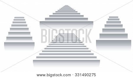 Interior White Stairs. Isolated Stairways Front View, Architecture 3d Staircase Set Images, Simple S