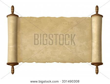 Antique Papyrus Scroll. Vector Paper Scroll For Ages Wisdom Vector Illustration, Traditional Ancient