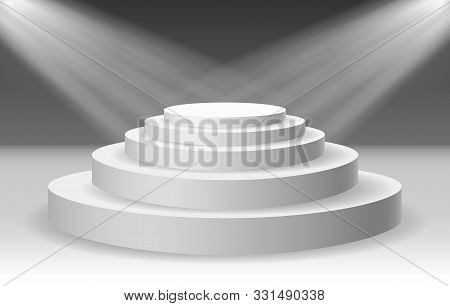 Award Lighting Podium. Abstract Vector White Stages Pedestal With Spotlight For Presentation And Awa