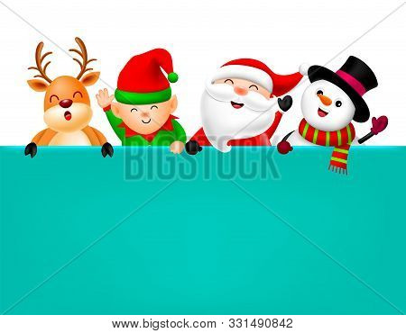 Cute Cartoon Christmas Character Holding Blank Advertisement Banner Background With Copy Space. Sant