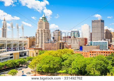 Cleveland, Ohio, USA downtown city skyline in the daytime.