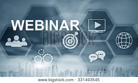 Inscription Webinar On The Background Of Dubai, Personal Development And E-learning Concept On Blurr