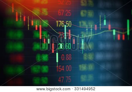 Stock Market Graph Business / Forex Trading And Candlestick Analysis Investment Indicator Of Financi