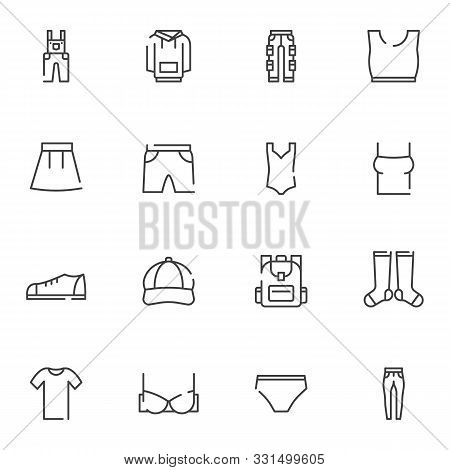 Summer Clothes Line Icons Set. Linear Style Symbols Collection, Outline Signs Pack. Vector Graphics.