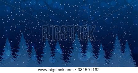 Christmas And New Year Banner With Place For Text. Winter Night Forest With Falling Snow. Cute And M