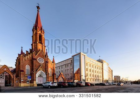 Russia, Irkutsk - November 2, 2019: Organ Hall. Irkutsk Regional Philharmonic. Roman Catholic Polish