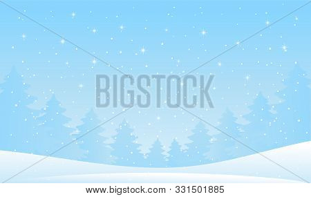 Winter Forest Landscape. Christmas Background For Greeting Card. New Year Banner With Blue Sky, Snow