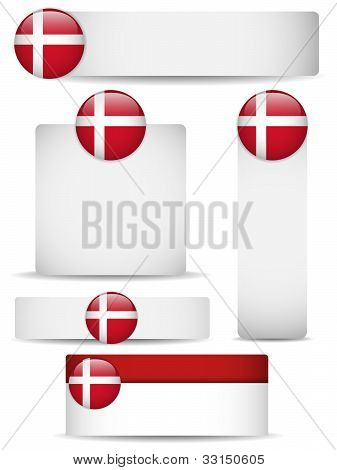 Vector - Denmark Country Set of Banners poster