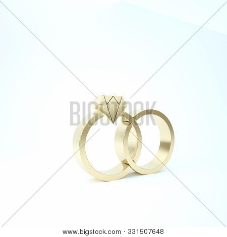 Gold Wedding rings icon isolated on white background. Bride and groom jewelery sign. Marriage icon. Diamond ring. 3d illustration 3D render poster