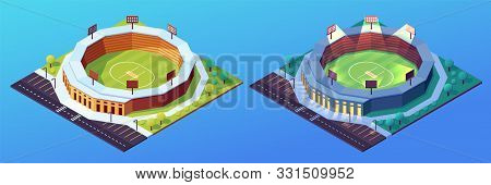 Set Of Isolated Day And Night Stadiums For Cricket Game. Building With Grass Field And Illuminated F