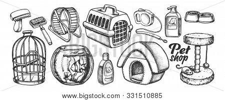 Pet Shop Equipment Assortment Monochrome Vector. Aquarium And Birdcage, Running Wheel And Food Bowl,