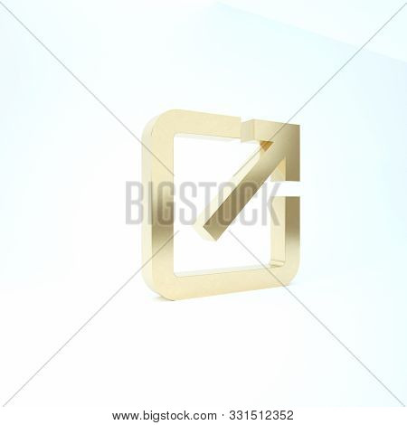 Gold Open In New Window Icon Isolated On White Background. Open Another Tab Button Sign. Browser Fra