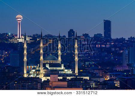 Ankara cityscape at night including Kocatepe Mosque - Ankara, Turkey