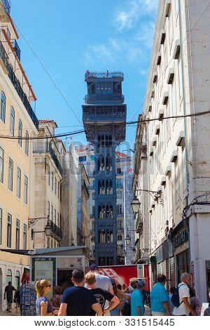 Lisbon, Portugal - September 13, 2019: Elevador De Santa Justa Lift Seen From Santa Justa Street. 19