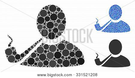 Pipe Smoker Mosaic Of Spheric Dots In Various Sizes And Shades, Based On Pipe Smoker Icon. Vector Ro