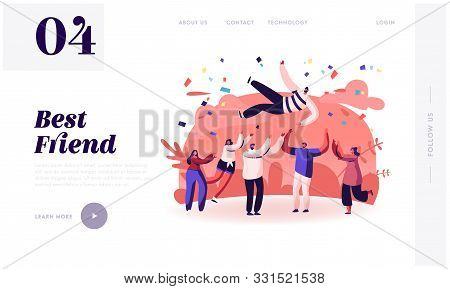 Friends Congratulation Website Landing Page. Young People Tossing Up In Air Man With Confetti Flying
