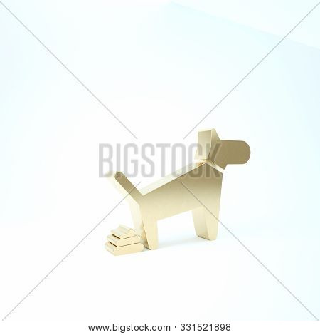Gold Dog Pooping Icon Isolated On White Background. Dog Goes To The Toilet. Dog Defecates. The Conce