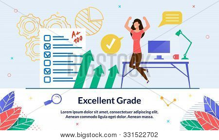 Illustration Excellent Grade, Happy Event, Slide. Girl Casual Clothes Jumps And Exults From Receivin