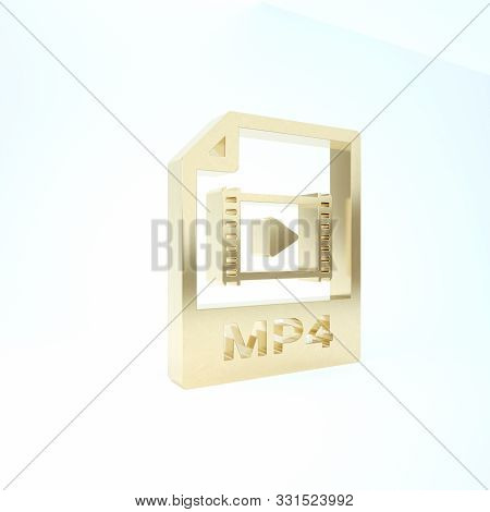 Gold Mp4 File Document. Download Mp4 Button Icon Isolated On White Background. Mp4 File Symbol. 3d I