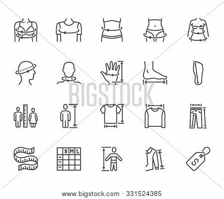 Clothes Size Flat Line Icons Set. Body Measurement Waist Circumference, Hip, Chest, Sleeve Length, H