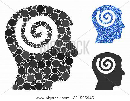 Hypnosis Mosaic Of Circle Elements In Different Sizes And Color Hues, Based On Hypnosis Icon. Vector
