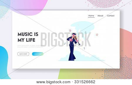 Talented Artist Performing On Scene Website Landing Page. Violinist In Concert Costume Playing Music