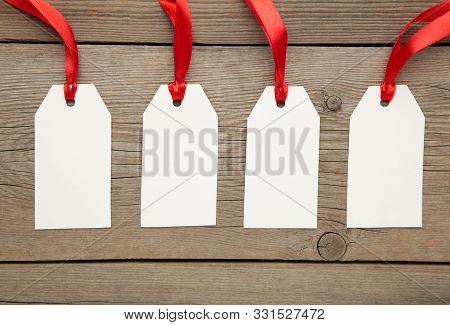 Blank Price Tags On Grey With Soft Shadow, Clipping Path Included