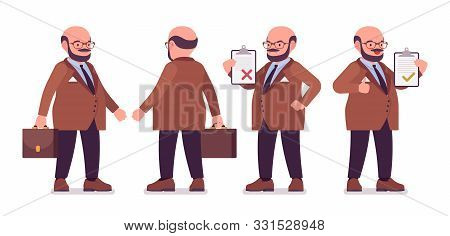Chubby Heavy Man With Belly Standing. Overweight And Fat Body Shape. Middle Aged Bold Guy, Kind Civi