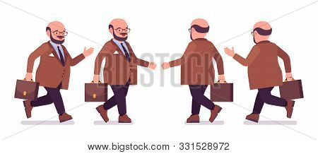Chubby Heavy Man With Belly Walking, Running, Overweight, Fat Body Shape. Middle Aged Bold Guy, Kind