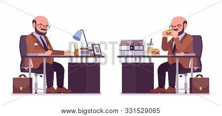 Chubby Heavy Man With Belly Sitting At Desk. Overweight, Fat Body Shape. Middle Aged Bold Guy, Kind