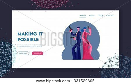 Secret Agents Mission, Actor And Actress Playing Role In Movie Website Landing Page. Man And Woman I