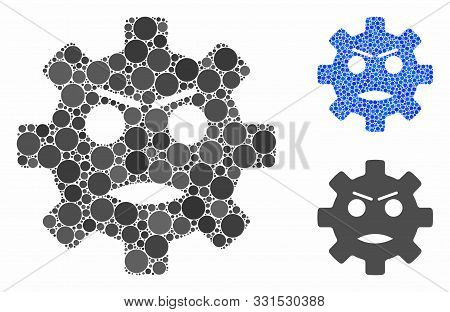 Gear Angry Smiley Mosaic Of Circle Elements In Different Sizes And Color Hues, Based On Gear Angry S