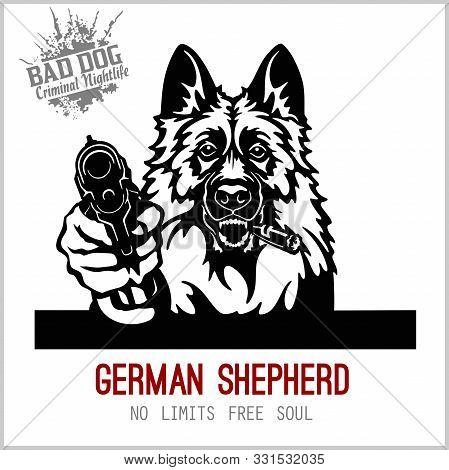 German Shepherd With Guns - German Shepherd Gangster. Head Of Angry German Shepherd