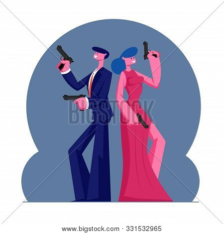 Young Self-confident Couple Of Man And Woman In Modern Evening Clothes Holding Guns Stand Back To Ba