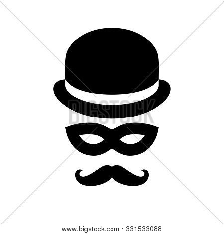 Unknown Person Sign. Anonymous Man With Moustaches In Bowler Hat And Black Mask. Graphic Icon Isolat