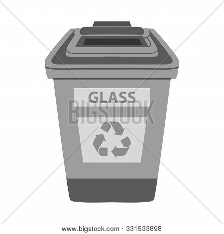 Isolated Object Of Dustbin And Trash Logo. Graphic Of Dustbin And Glass Stock Symbol For Web.