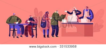 Charity Concept. Night Shelter for Homeless, Emergency Housing, Temporary Residence for People, Bums and Beggars without Home. Poor Men Women Stand in Queue Get Warm Food Cartoon Vector Illustration poster