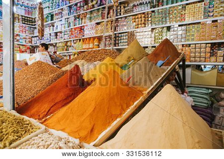 Rissani, Morocco - September 18th, 2019: Traditional Stall With Spices And Herbs, At The Food Market