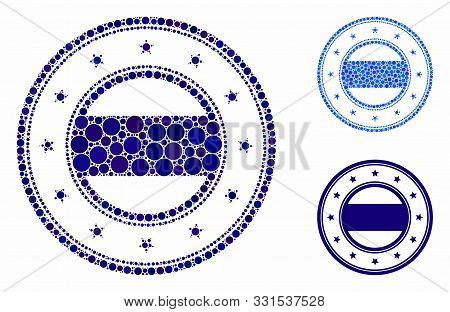 Double Round Starred Frame Mosaic Of Filled Circles In Variable Sizes And Color Tints, Based On Doub