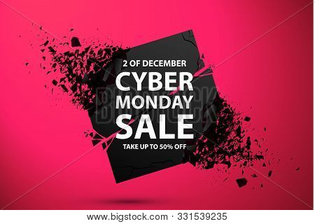 Cyber Monday Sale Abstract Background. Vector Banner With Explosion Effect